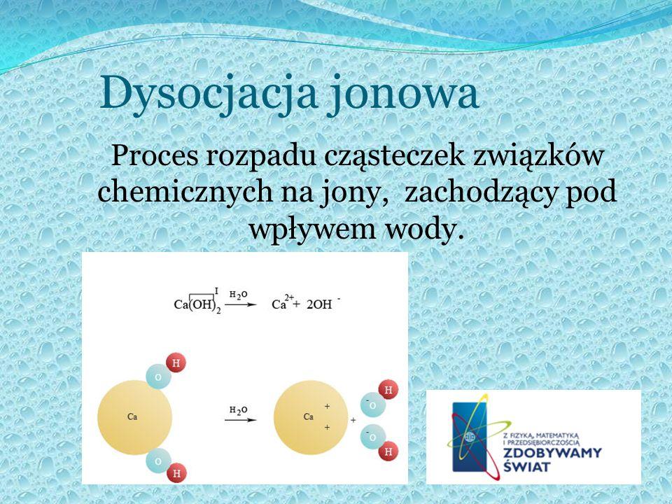Dysocjacja jonowa Proces rozpadu cząsteczek związków chemicznych na jony, zachodzący pod wpływem wody.