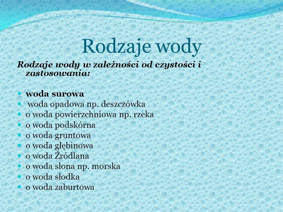 Rodzaje wody Rodzaje wody w zależności od czystości i zastosowania: woda surowa woda opadowa np.