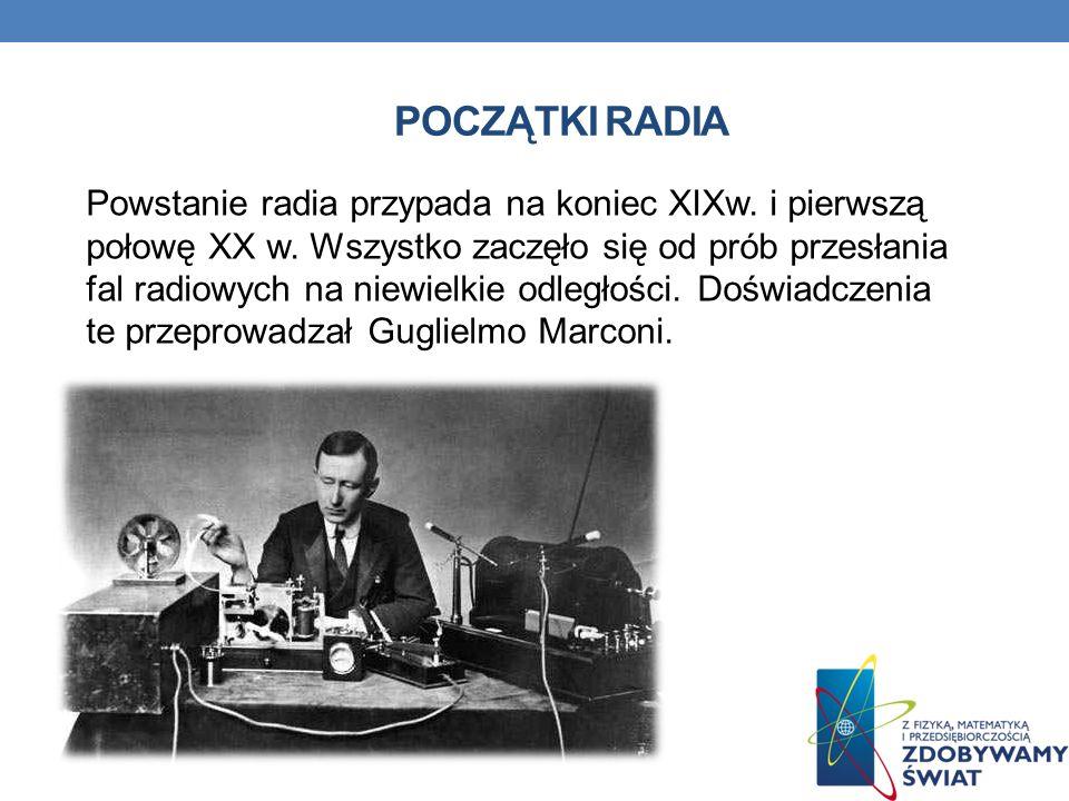 POCZĄTKI RADIA Powstanie radia przypada na koniec XIXw.