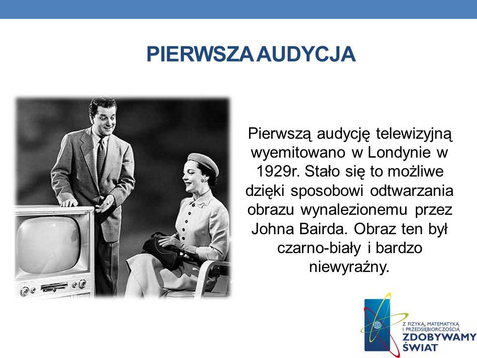 PIERWSZA AUDYCJA Pierwszą audycję telewizyjną wyemitowano w Londynie w 1929r.
