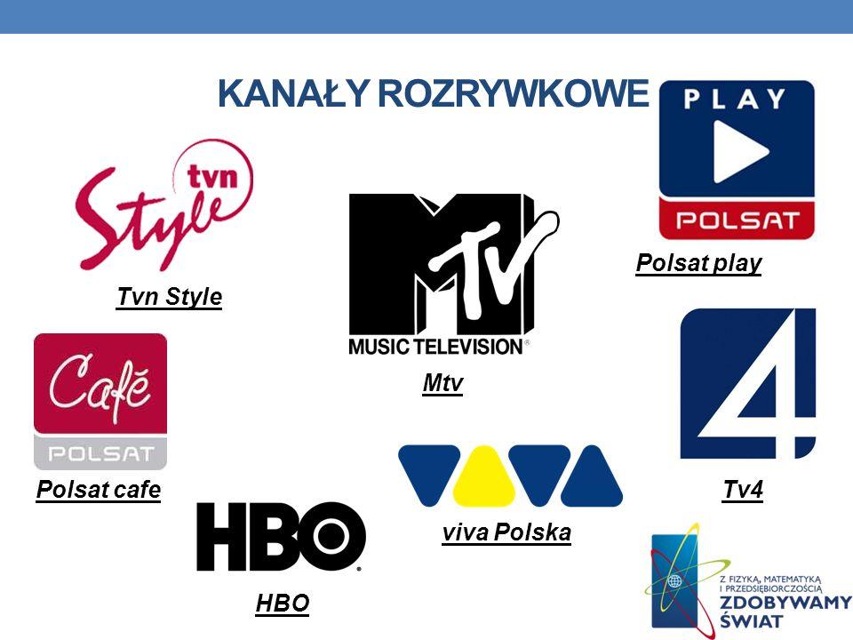 KANAŁY ROZRYWKOWE Mtv viva Polska Polsat cafe Tvn Style Polsat play HBO Tv4
