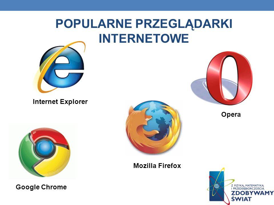 POPULARNE PRZEGLĄDARKI INTERNETOWE Mozilla Firefox Google Chrome Opera Internet Explorer