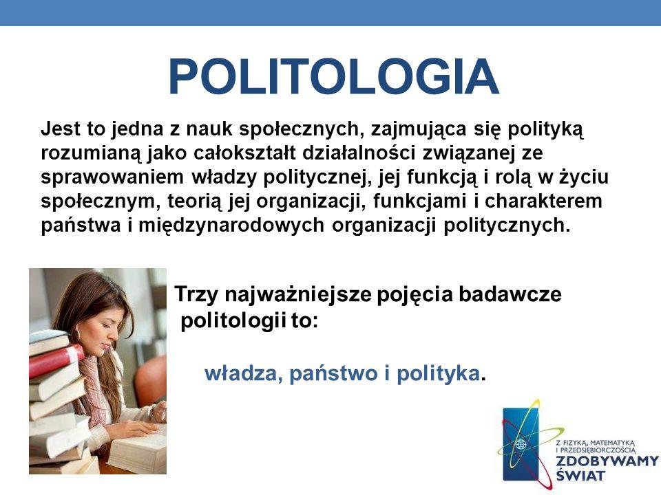 POLITOLOGIA Jest to jedna z nauk społecznych, zajmująca się polityką rozumianą jako całokształt działalności związanej ze sprawowaniem władzy politycznej, jej funkcją i rolą w życiu społecznym, teorią jej organizacji, funkcjami i charakterem państwa i międzynarodowych organizacji politycznych.