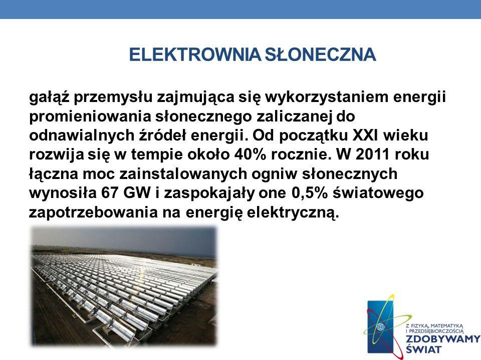 ELEKTROWNIA SŁONECZNA gałąź przemysłu zajmująca się wykorzystaniem energii promieniowania słonecznego zaliczanej do odnawialnych źródeł energii. Od po