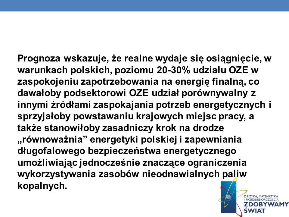 Prognoza wskazuje, że realne wydaje się osiągnięcie, w warunkach polskich, poziomu 20-30% udziału OZE w zaspokojeniu zapotrzebowania na energię finalną, co dawałoby podsektorowi OZE udział porównywalny z innymi źródłami zaspokajania potrzeb energetycznych i sprzyjałoby powstawaniu krajowych miejsc pracy, a także stanowiłoby zasadniczy krok na drodze równoważnia energetyki polskiej i zapewniania długofalowego bezpieczeństwa energetycznego umożliwiając jednocześnie znaczące ograniczenia wykorzystywania zasobów nieodnawialnych paliw kopalnych.