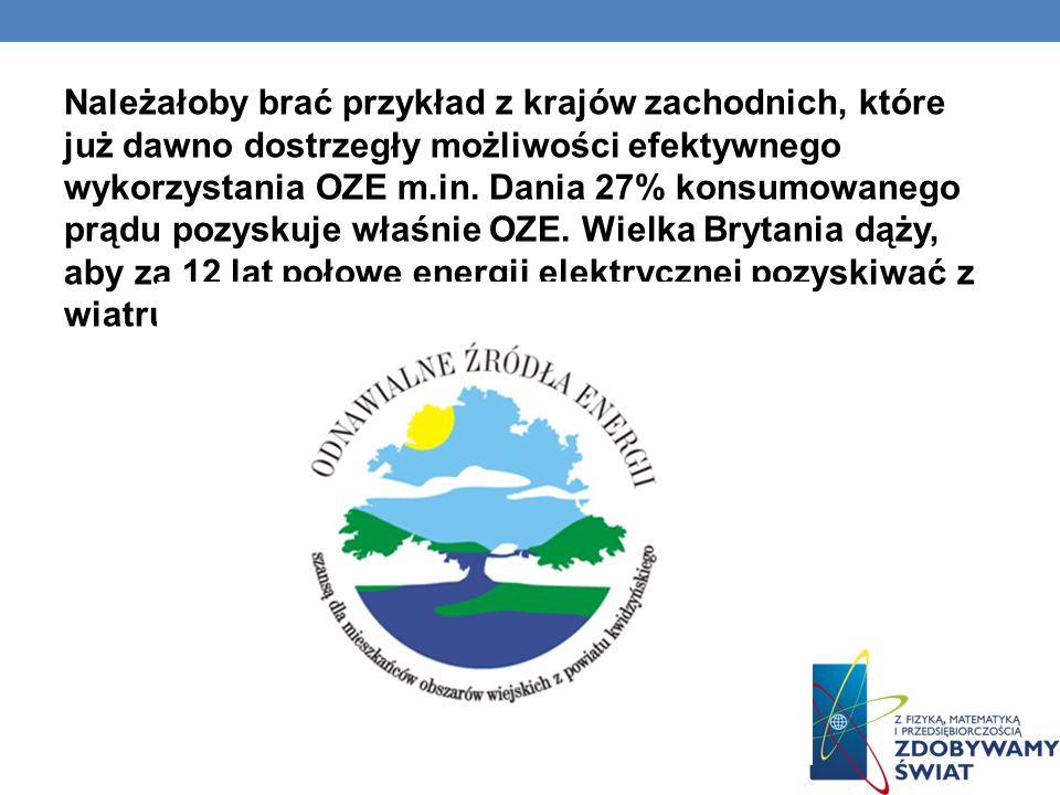 Należałoby brać przykład z krajów zachodnich, które już dawno dostrzegły możliwości efektywnego wykorzystania OZE m.in. Dania 27% konsumowanego prądu