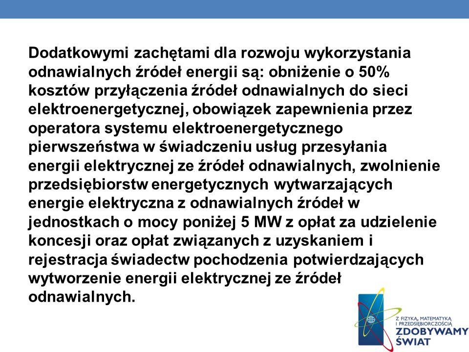Dodatkowymi zachętami dla rozwoju wykorzystania odnawialnych źródeł energii są: obniżenie o 50% kosztów przyłączenia źródeł odnawialnych do sieci elektroenergetycznej, obowiązek zapewnienia przez operatora systemu elektroenergetycznego pierwszeństwa w świadczeniu usług przesyłania energii elektrycznej ze źródeł odnawialnych, zwolnienie przedsiębiorstw energetycznych wytwarzających energie elektryczna z odnawialnych źródeł w jednostkach o mocy poniżej 5 MW z opłat za udzielenie koncesji oraz opłat związanych z uzyskaniem i rejestracja świadectw pochodzenia potwierdzających wytworzenie energii elektrycznej ze źródeł odnawialnych.