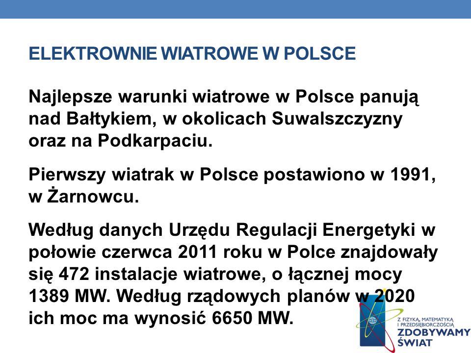 ELEKTROWNIE WIATROWE W POLSCE Najlepsze warunki wiatrowe w Polsce panują nad Bałtykiem, w okolicach Suwalszczyzny oraz na Podkarpaciu. Pierwszy wiatra