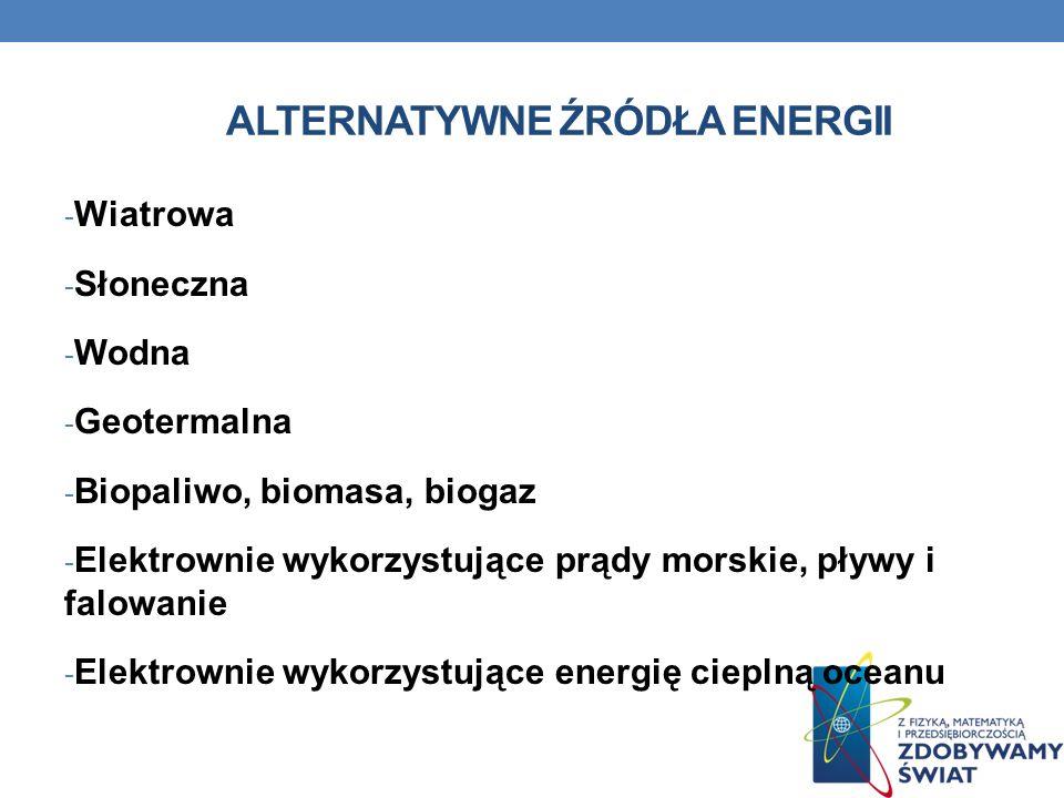 ALTERNATYWNE ŹRÓDŁA ENERGII - Wiatrowa - Słoneczna - Wodna - Geotermalna - Biopaliwo, biomasa, biogaz - Elektrownie wykorzystujące prądy morskie, pływ