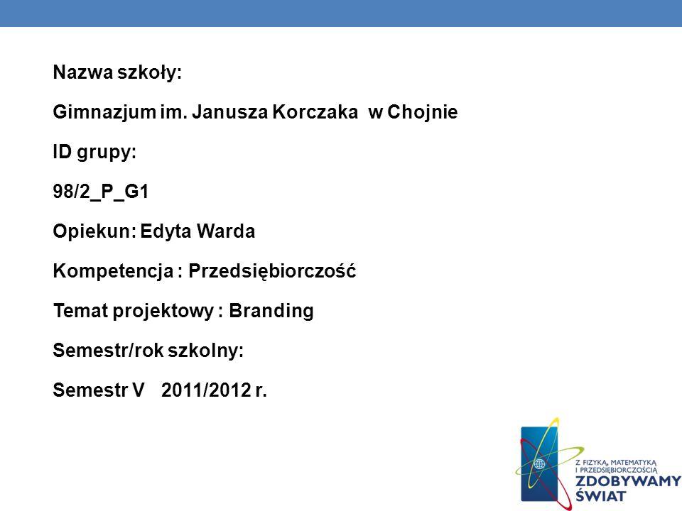 Nazwa szkoły: Gimnazjum im. Janusza Korczaka w Chojnie ID grupy: 98/2_P_G1 Opiekun: Edyta Warda Kompetencja : Przedsiębiorczość Temat projektowy : Bra