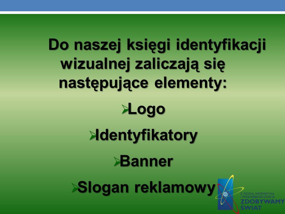Do naszej księgi identyfikacji wizualnej zaliczają się następujące elementy: Logo Logo Identyfikatory Identyfikatory Banner Banner Slogan reklamowy Slogan reklamowy