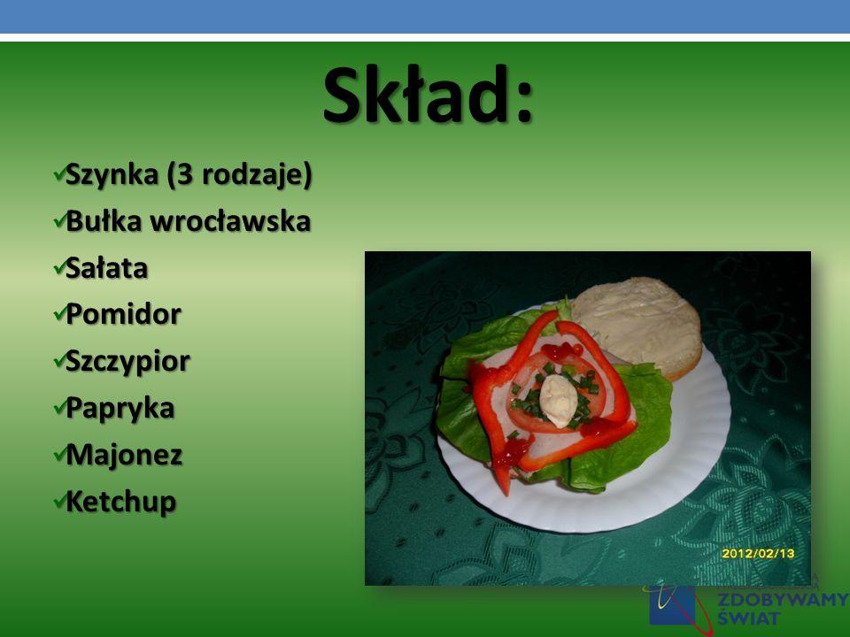 Szynka (3 rodzaje) Szynka (3 rodzaje) Bułka wrocławska Bułka wrocławska Sałata Sałata Pomidor Pomidor Szczypior Szczypior Papryka Papryka Majonez Majonez Ketchup Ketchup Skład: