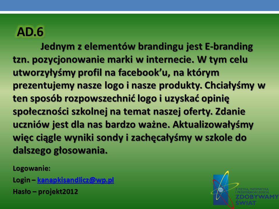 Jednym z elementów brandingu jest E-branding tzn. pozycjonowanie marki w internecie. W tym celu utworzyłyśmy profil na facebooku, na którym prezentuje