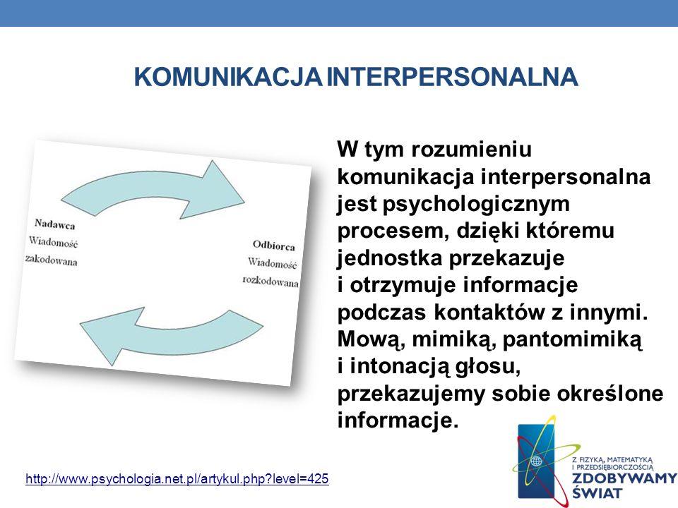 KOMUNIKACJA INTERPERSONALNA W tym rozumieniu komunikacja interpersonalna jest psychologicznym procesem, dzięki któremu jednostka przekazuje i otrzymuj