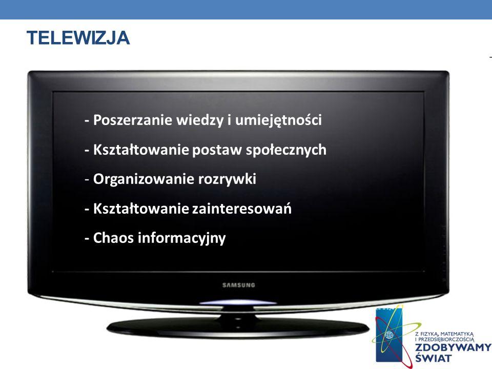 TELEWIZJA - Poszerzanie wiedzy i umiejętności - Kształtowanie postaw społecznych - Organizowanie rozrywki - Kształtowanie zainteresowań - Chaos inform