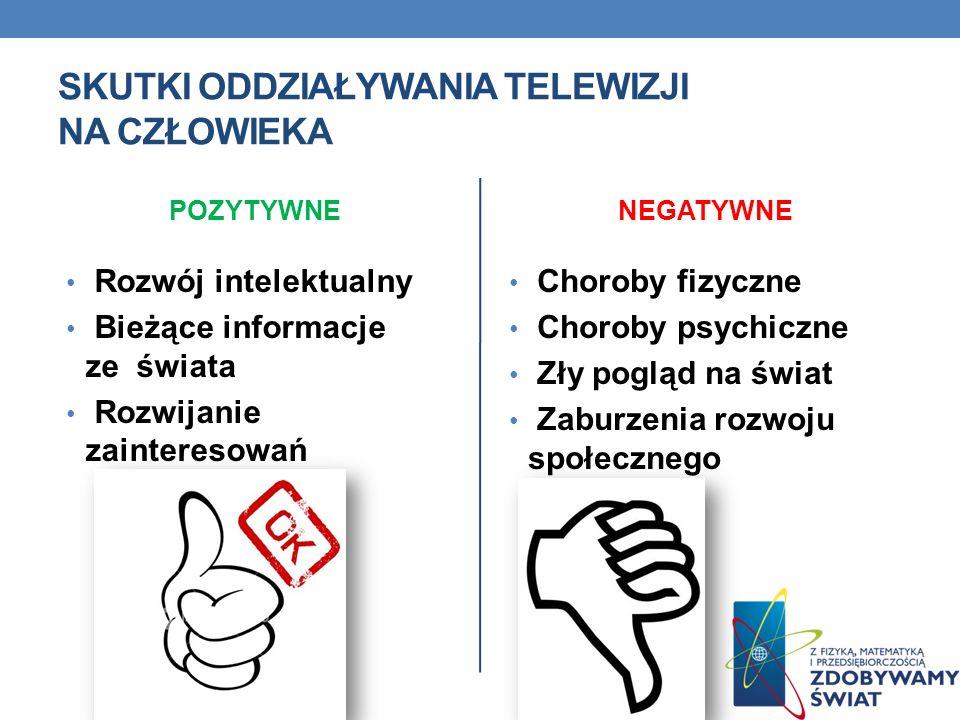 SKUTKI ODDZIAŁYWANIA TELEWIZJI NA CZŁOWIEKA POZYTYWNE Rozwój intelektualny Bieżące informacje ze świata Rozwijanie zainteresowań NEGATYWNE Choroby fiz