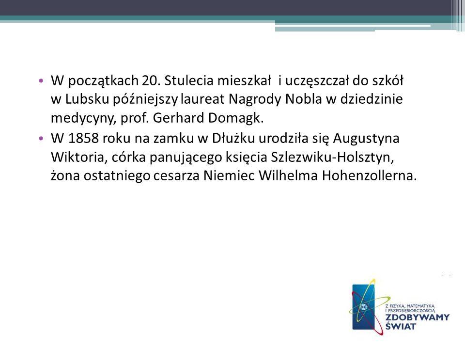 W początkach 20. Stulecia mieszkał i uczęszczał do szkół w Lubsku późniejszy laureat Nagrody Nobla w dziedzinie medycyny, prof. Gerhard Domagk. W 1858