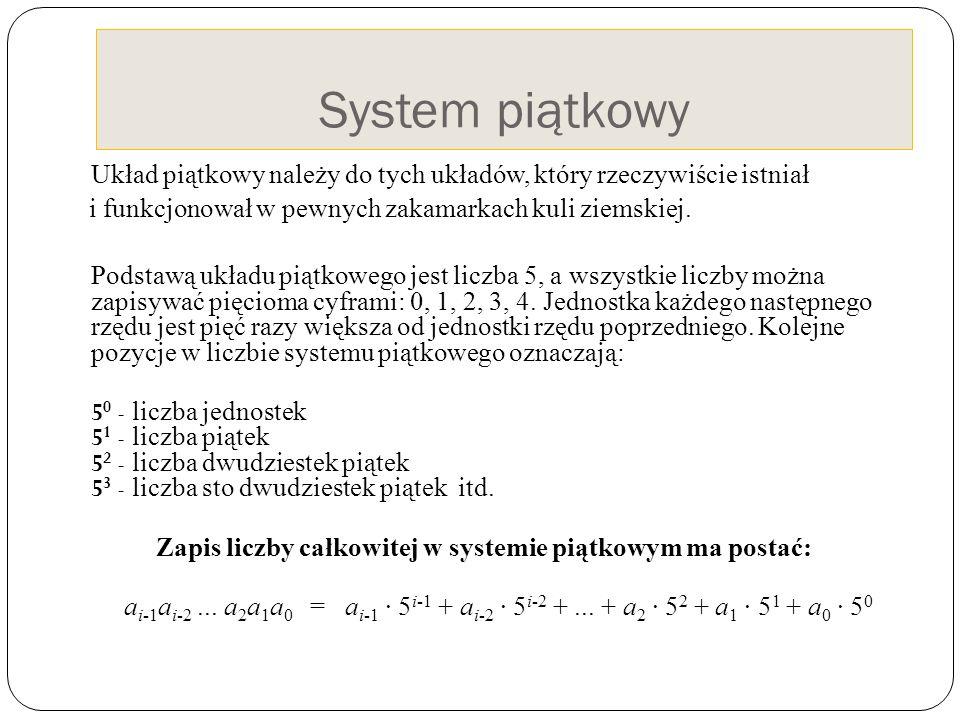 System piątkowy Układ piątkowy należy do tych układów, który rzeczywiście istniał i funkcjonował w pewnych zakamarkach kuli ziemskiej. Podstawą układu