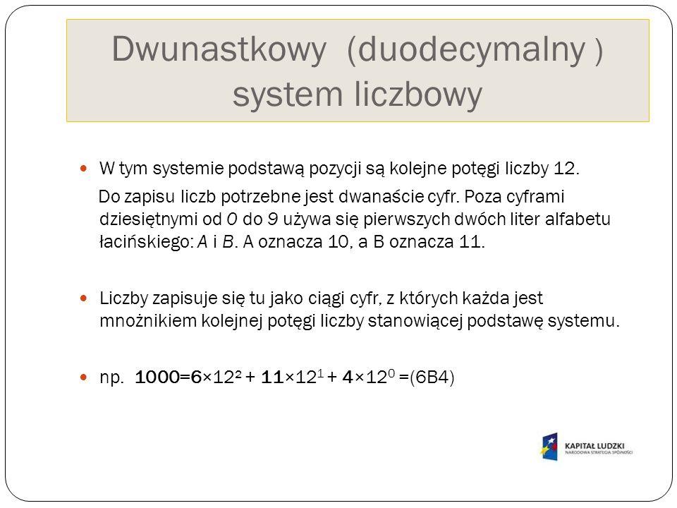 Dwunastkowy (duodecymalny ) system liczbowy W tym systemie podstawą pozycji są kolejne potęgi liczby 12. Do zapisu liczb potrzebne jest dwanaście cyfr