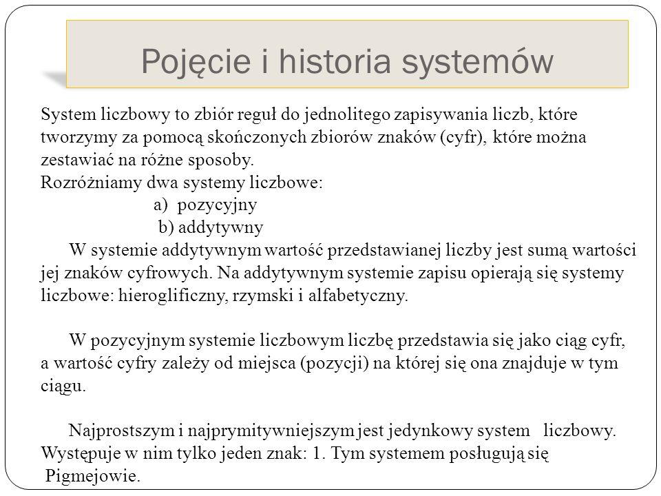 Pojęcie i historia systemów System liczbowy to zbiór reguł do jednolitego zapisywania liczb, które tworzymy za pomocą skończonych zbiorów znaków (cyfr