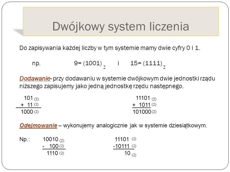 Dwójkowy system liczenia Do zapisywania każdej liczby w tym systemie mamy dwie cyfry 0 i 1. np. 9= (1001) i 15= (1111) Dodawanie- przy dodawaniu w sys