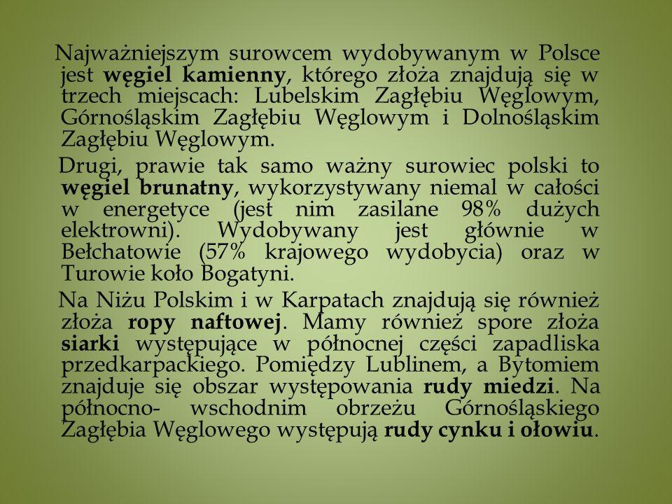 Najważniejszym surowcem wydobywanym w Polsce jest węgiel kamienny, którego złoża znajdują się w trzech miejscach: Lubelskim Zagłębiu Węglowym, Górnośląskim Zagłębiu Węglowym i Dolnośląskim Zagłębiu Węglowym.