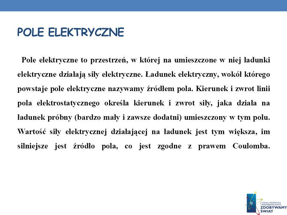 POLE ELEKTRYCZNE Pole elektryczne to przestrzeń, w której na umieszczone w niej ładunki elektryczne działają siły elektryczne. Ładunek elektryczny, wo