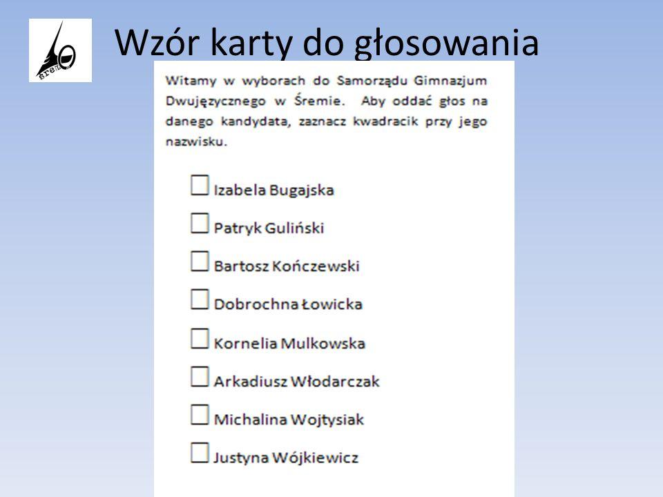 Wzór karty do głosowania