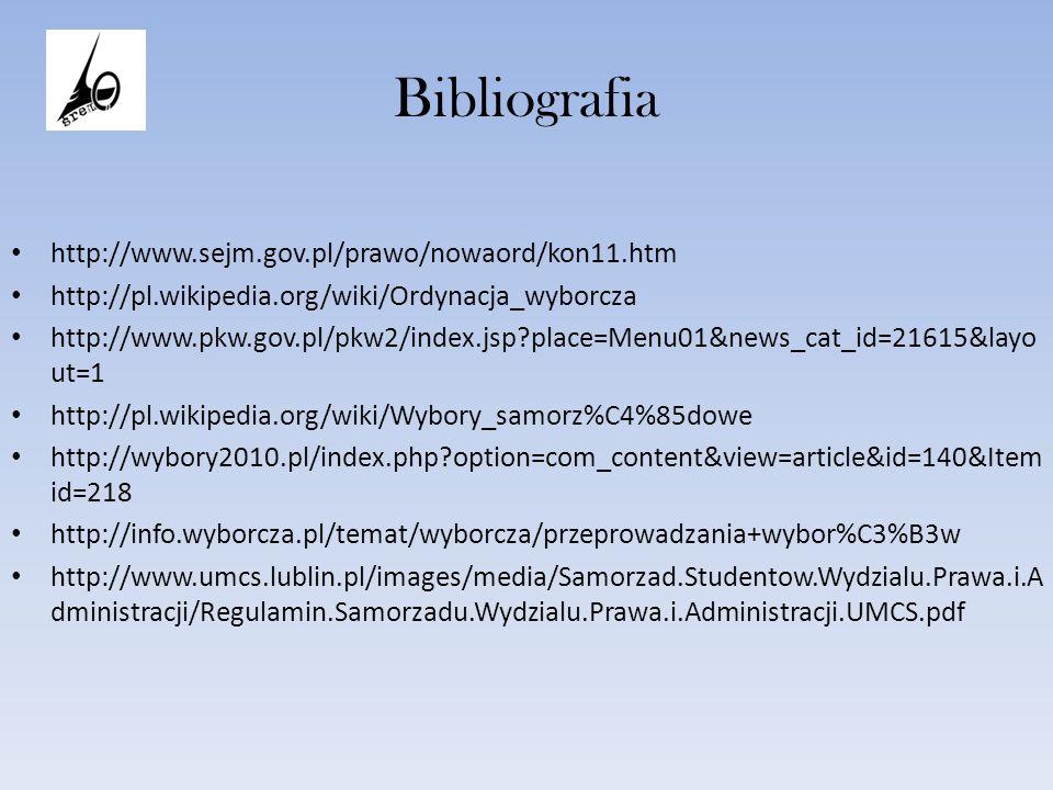Bibliografia http://www.sejm.gov.pl/prawo/nowaord/kon11.htm http://pl.wikipedia.org/wiki/Ordynacja_wyborcza http://www.pkw.gov.pl/pkw2/index.jsp?place