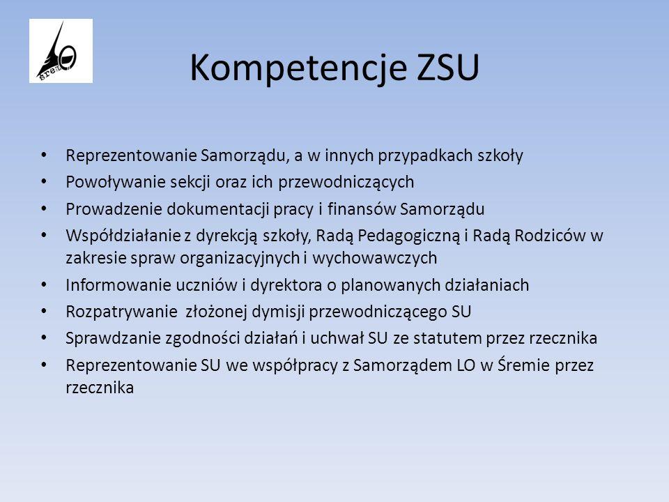 Kompetencje ZSU Reprezentowanie Samorządu, a w innych przypadkach szkoły Powoływanie sekcji oraz ich przewodniczących Prowadzenie dokumentacji pracy i