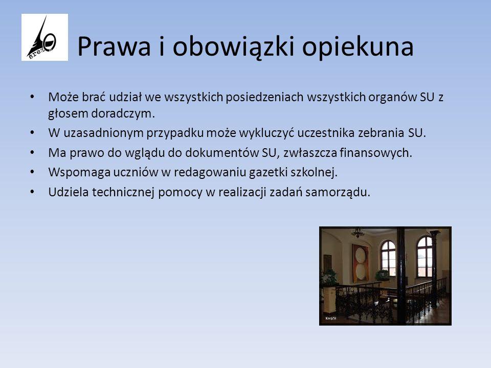Prawa i obowiązki opiekuna Może brać udział we wszystkich posiedzeniach wszystkich organów SU z głosem doradczym. W uzasadnionym przypadku może wykluc