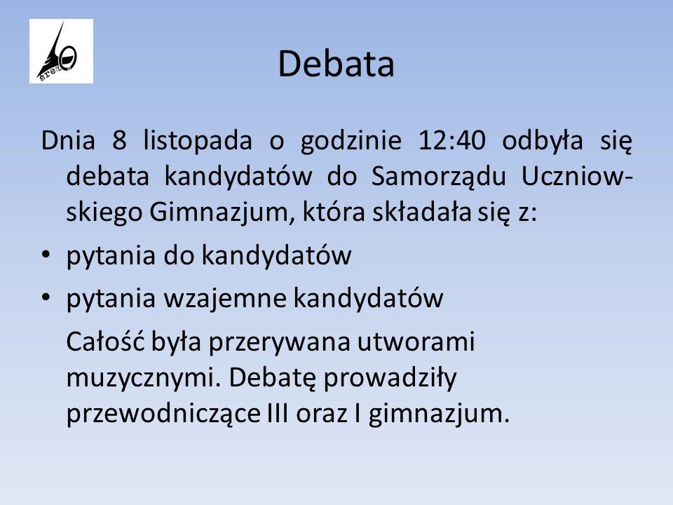 Debata Dnia 8 listopada o godzinie 12:40 odbyła się debata kandydatów do Samorządu Uczniow- skiego Gimnazjum, która składała się z: pytania do kandyda