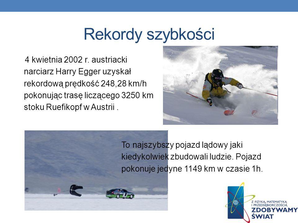Rekordy szybkości 4 kwietnia 2002 r. austriacki narciarz Harry Egger uzyskał rekordową prędkość 248,28 km/h pokonując trasę liczącego 3250 km stoku Ru