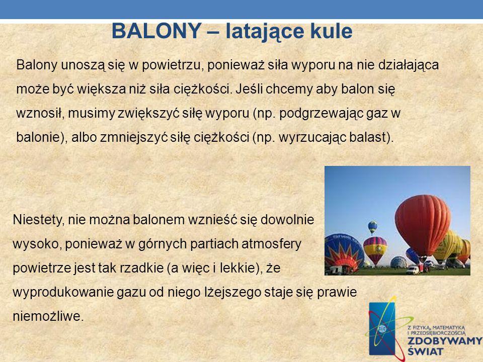 BALONY – latające kule Balony unoszą się w powietrzu, ponieważ siła wyporu na nie działająca może być większa niż siła ciężkości. Jeśli chcemy aby bal