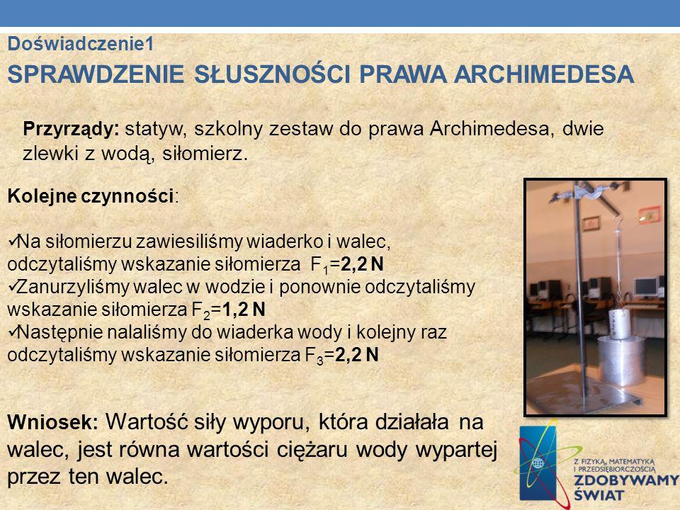 Przyrządy : statyw, szkolny zestaw do prawa Archimedesa, dwie zlewki z wodą, siłomierz. Kolejne czynności: Na siłomierzu zawiesiliśmy wiaderko i walec