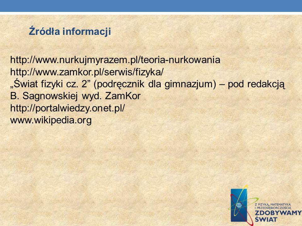 http://www.nurkujmyrazem.pl/teoria-nurkowania http://www.zamkor.pl/serwis/fizyka/ Świat fizyki cz. 2 (podręcznik dla gimnazjum) – pod redakcją B. Sagn