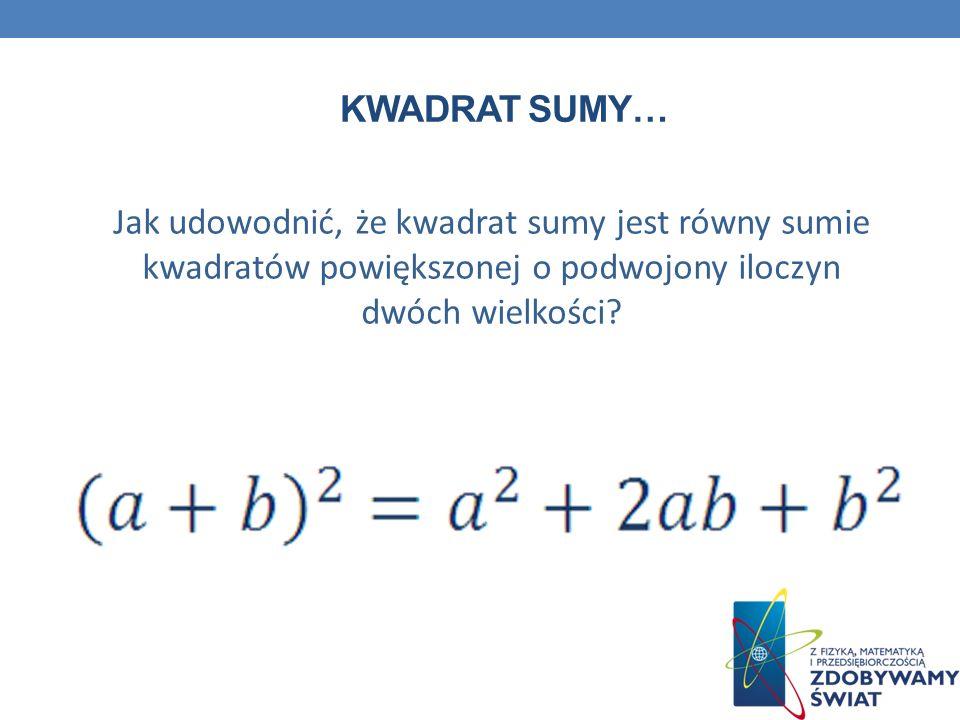 KWADRAT SUMY… Jak udowodnić, że kwadrat sumy jest równy sumie kwadratów powiększonej o podwojony iloczyn dwóch wielkości?
