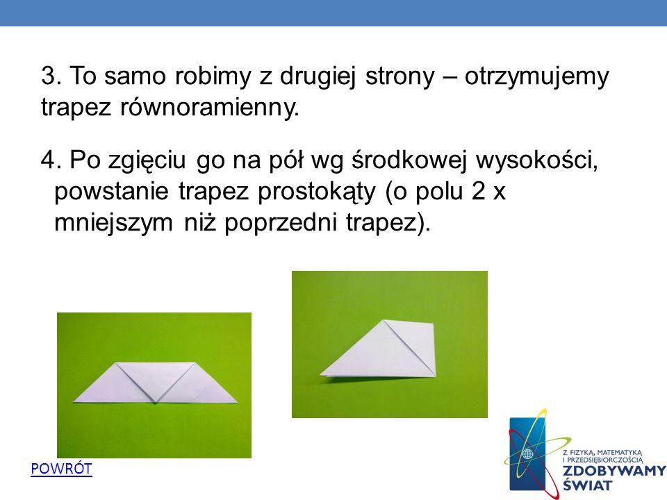 3. To samo robimy z drugiej strony – otrzymujemy trapez równoramienny. 4. Po zgięciu go na pół wg środkowej wysokości, powstanie trapez prostokąty (o