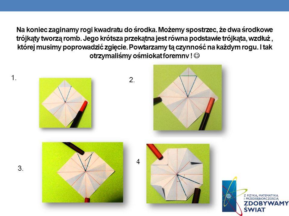 Na koniec zaginamy rogi kwadratu do środka.Możemy spostrzec, że dwa środkowe trójkąty tworzą romb.
