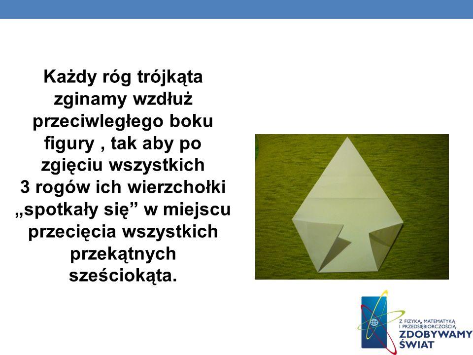 Każdy róg trójkąta zginamy wzdłuż przeciwległego boku figury, tak aby po zgięciu wszystkich 3 rogów ich wierzchołki spotkały się w miejscu przecięcia wszystkich przekątnych sześciokąta.
