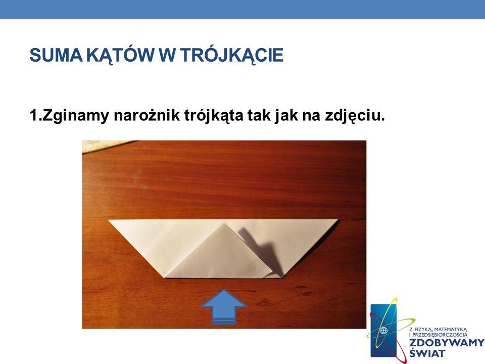 1.Zginamy narożnik trójkąta tak jak na zdjęciu. SUMA KĄTÓW W TRÓJKĄCIE