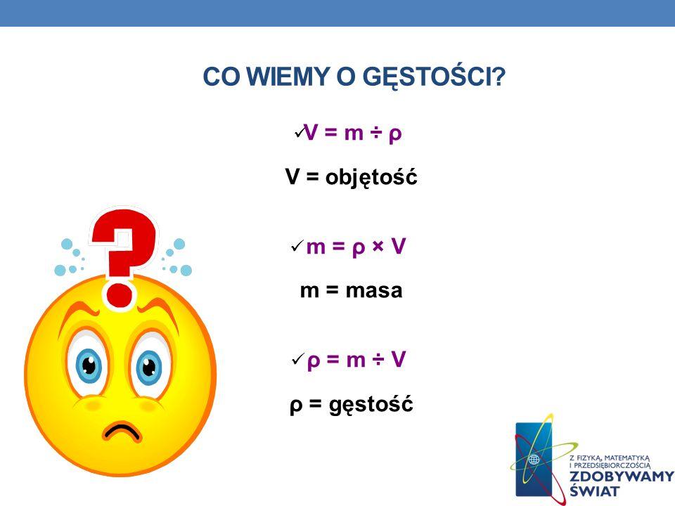 CO WIEMY O GĘSTOŚCI? V = m ÷ ρ V = objętość m = ρ × V m = masa ρ = m ÷ V ρ = gęstość