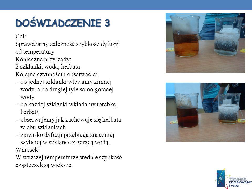 DOŚWIADCZENIE 3 Cel: Sprawdzamy zależność szybkość dyfuzji od temperatury Konieczne przyrządy: 2 szklanki, woda, herbata Kolejne czynności i obserwacj