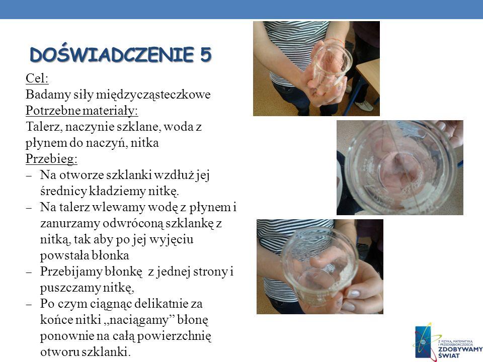 DOŚWIADCZENIE 5 Cel: Badamy siły międzycząsteczkowe Potrzebne materiały: Talerz, naczynie szklane, woda z płynem do naczyń, nitka Przebieg: Na otworze