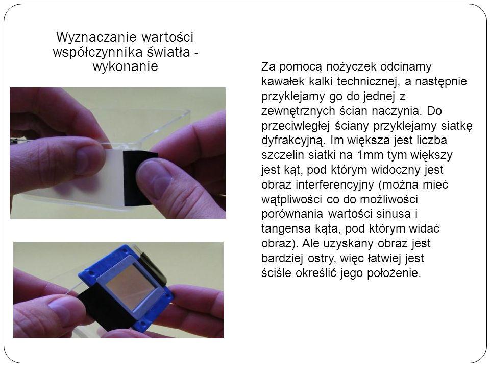 Wyznaczanie wartości współczynnika światła za pomocą siatki dyfrakcyjnej Potrzebne materiały Do wykonania doświadczeń potrzebne będą: wskaźnik laserow