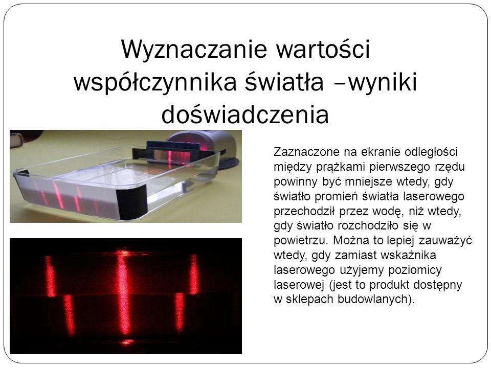Wyznaczanie wartości współczynnika światła - wykonanie Do gotowego naczynia nalewamy wodę, lub inną ciecz, której współczynnik załamania chcemy wyznac