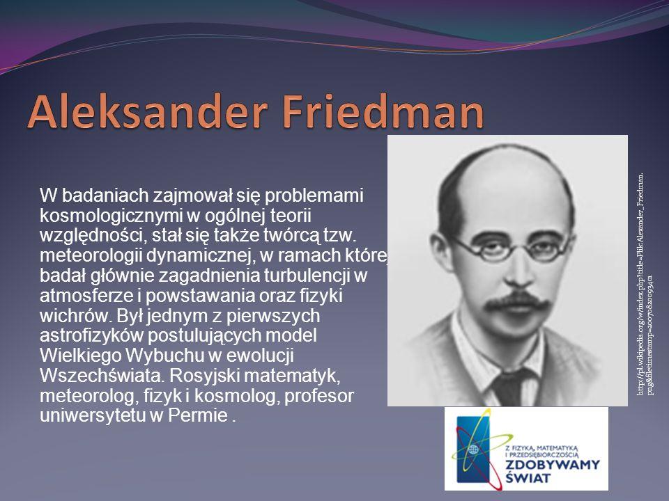 W badaniach zajmował się problemami kosmologicznymi w ogólnej teorii względności, stał się także twórcą tzw. meteorologii dynamicznej, w ramach której