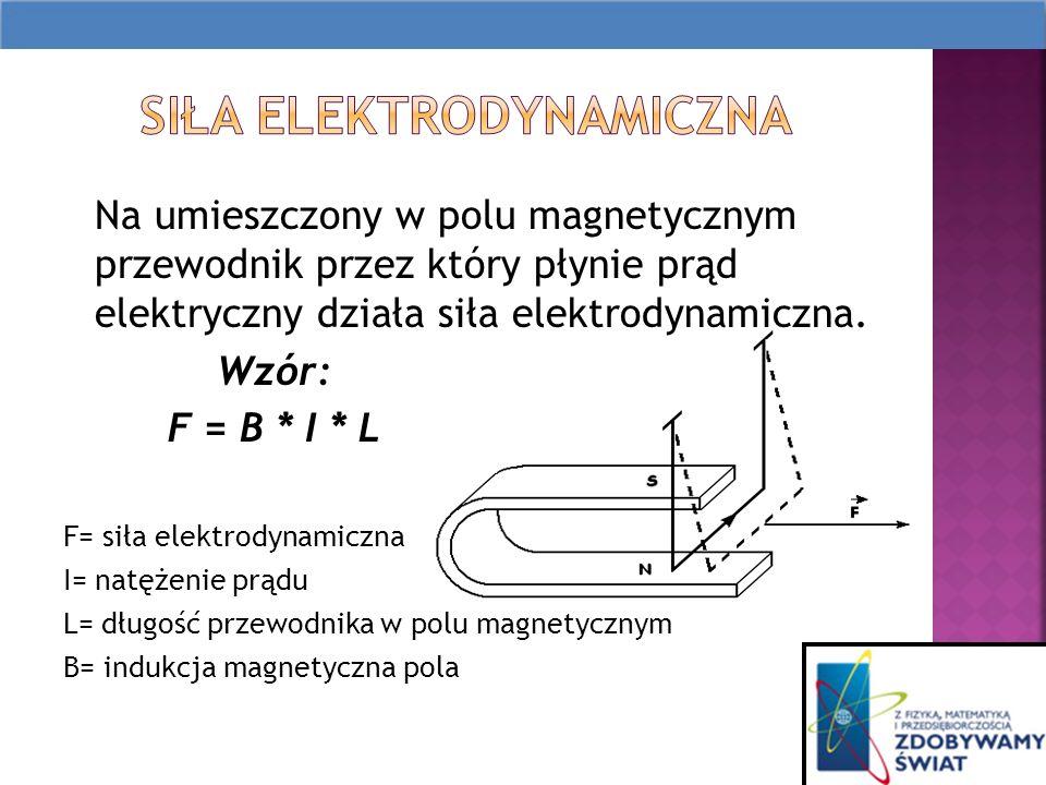 Na umieszczony w polu magnetycznym przewodnik przez który płynie prąd elektryczny działa siła elektrodynamiczna.