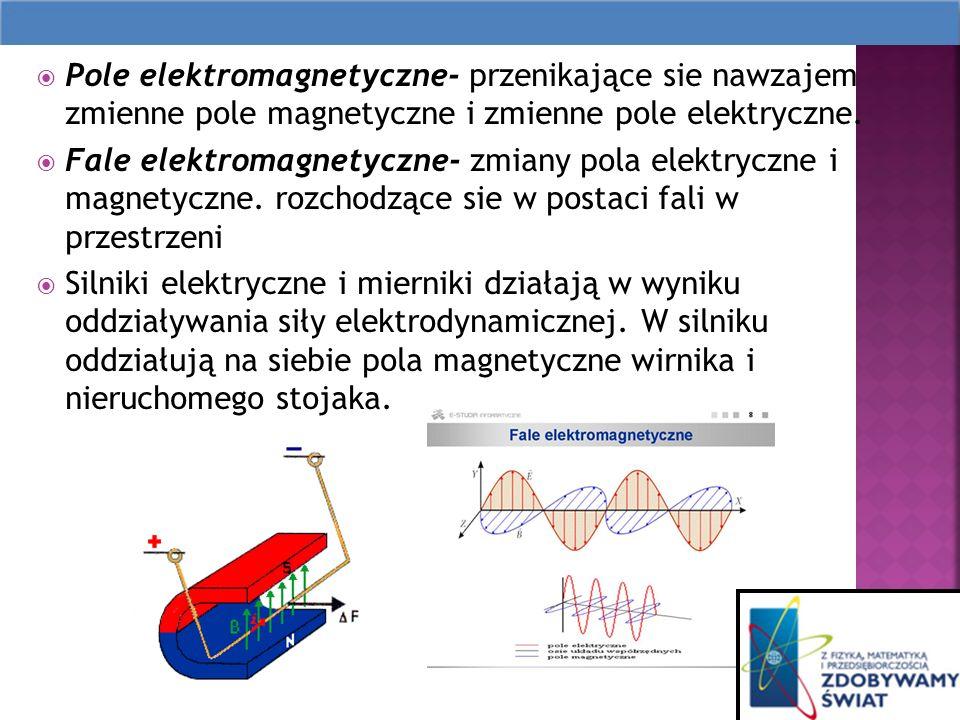 Pole elektromagnetyczne- przenikające sie nawzajem zmienne pole magnetyczne i zmienne pole elektryczne.