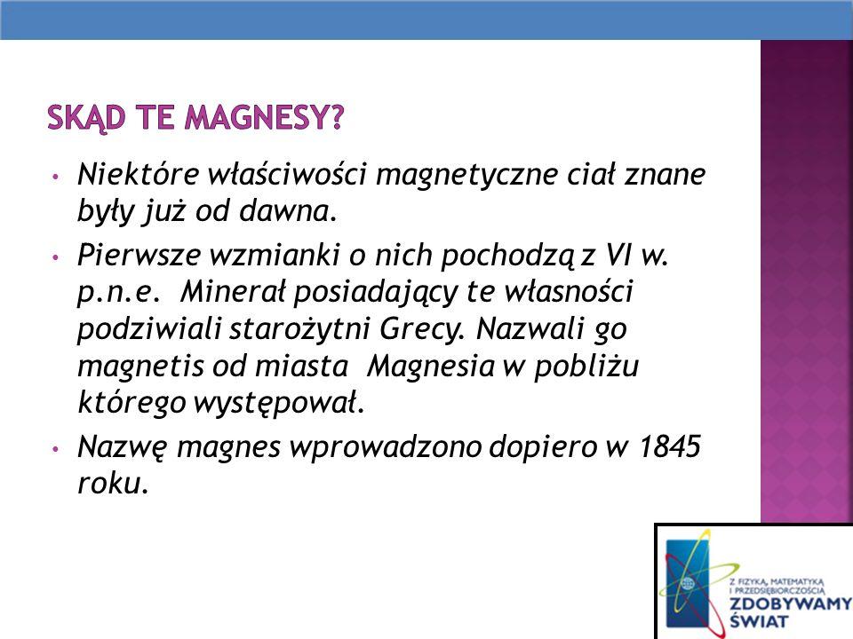 Niektóre właściwości magnetyczne ciał znane były już od dawna.
